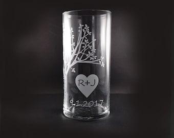 Mariage personnalisé l'unité cérémonie bougie Vase - Vase en arbre rustique chérie avec flottant bougie - personnalisé Vase - unité bougie Set
