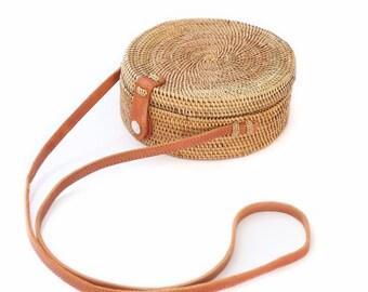 Circle Bag, Circle Straw Bag, Round Straw Bag, Capri Bag, Crossbody Bag, Wicker Round Bag, Round Purse, Straw Purse, Beach Bag,  Straw Bag