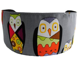 Bargain Headbands Colorful Forest Owls Over Grey, Gorgeous Soft Wide Headband By Bargain Headbands