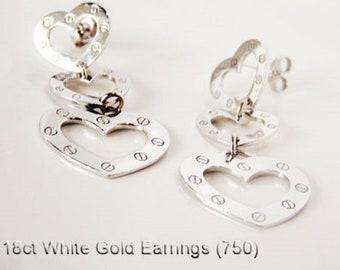 18ct 18K 750 White Gold Heart Drop Dangle Design Earrings Jewellery Genuine NEW