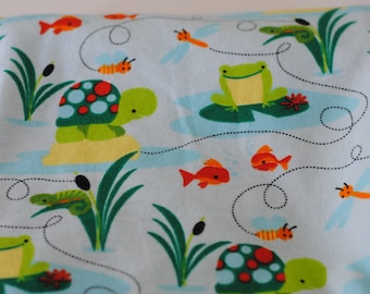 Pond Life Receiving Blanket Turtles Frogs and Fish