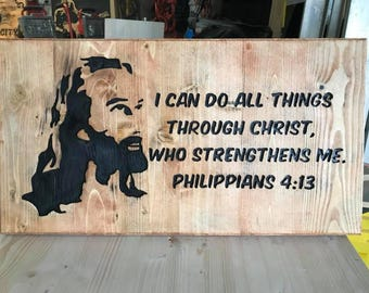 Jesus Philippians 4:13 Wood Art