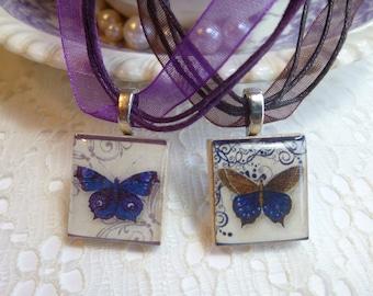 VIntage Butterfly Scrabble Tile Necklace Pendant