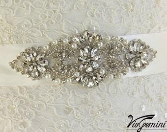 READY TO SHIP Bridal sash, Art Deco bridal sash, wedding sash,  rhinestones and crystal sash, wedding belt, jeweled sash belt