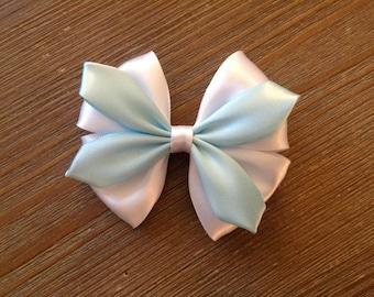 "Style: Dorothy, flower-inspired 3 3/4"" satin hair bow"