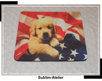 Puppy and American flag mouse, labrador, office decor rug