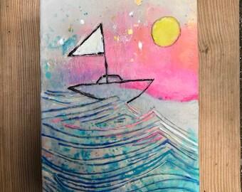 Sail to the Moon Original Encaustic Painting