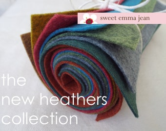 9x12 Wool Felt Sheets - A NEW Collection of Heathers - 8 Sheets of Felt
