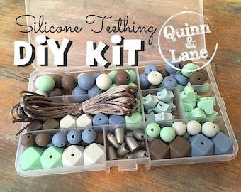 DIY Silicone Teething Kit - Silicone Beads & Supplies - Make Your Own Baby Chew Jewelry Teething Necklace - Mint/Icicle/Powder/Capp (HS)