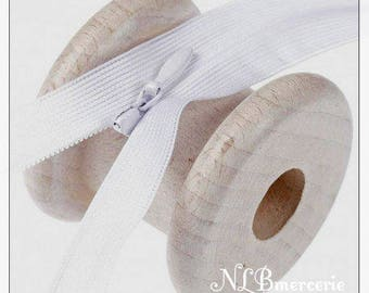 White 50cm invisible zip closure