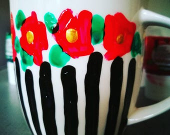 A touch of French rose and striped mug hand painted