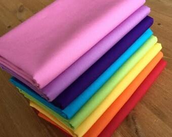 Rainbow Fat Quarters Fabric Bundle Solid colours
