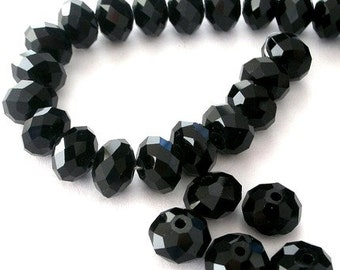 16 jet black 10mm crystal beads, sparkly black rondelles, Chinese crystal