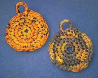 Two Plarn Dish Scrubbies, grey gray and orange, recycled plastic bags, upcycled dish scrubby pot scrubber