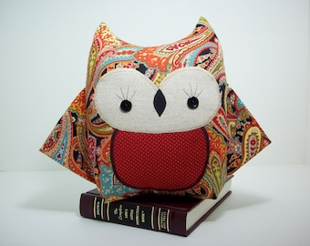 Owl pillow plush toy in paisley, owl toy, owl nursery decor, black and red owl pillow, owl stuffed toy