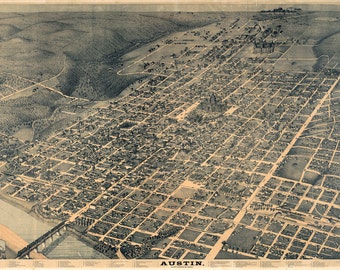 Map Of Austin from 1887 - Canvas Print