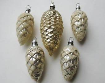 5 Vintage 50s West German Hand Blown Glass White Glitter Pinecone Christmas Tree Ornaments