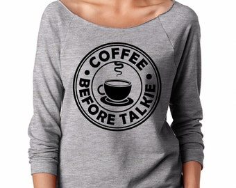 Coffee Humor Perfect Morning Lightweight Ladies Jersey Top French Terry Raglan Gift For Coffee Lovers