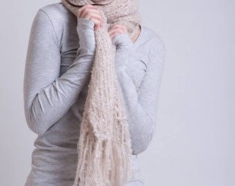 Natural Mohair Scarf in Linen