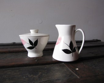 Vintage Danish Mid Century Modern Pink and Black Flower Motif Sugar and Creamer