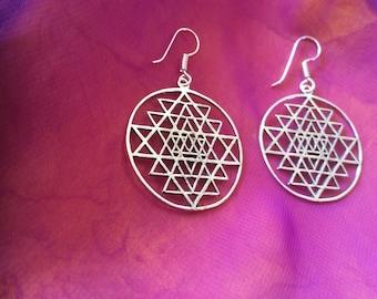 Silver Sacred geometry earrings