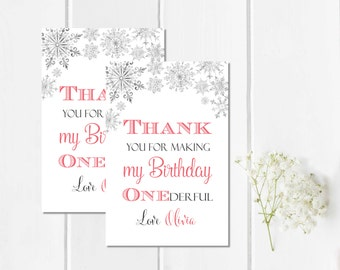Pink Snowflake First Birthday Favor Tags, Printable Personalized Winter Onederland Tags, Custom Girl Birthday Favor Labels, Download 303-P