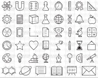 Back To School Clipart Thin Line Icons Education Clipart