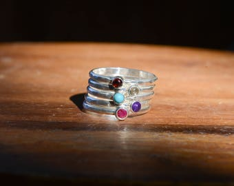 Birthstone Stacking Rings Sterling Silver