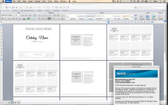 word catalog template