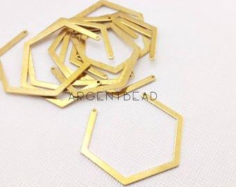 10pcs of 40x33mm Open Hexagon Raw brass charms,Raw Brass Hexagon Pendant , Hexagon Charms ,Raw Brass Hexagon, Geometric charms ,  AG131