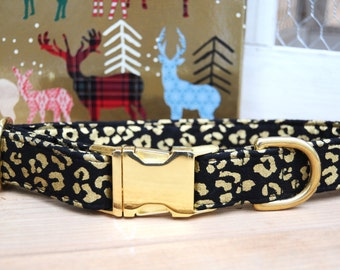 Cheetah Print Dog Collar, Black and Metallic Gold, Winter Dog Collar, Female Dog Collar, Gold Metal Buckle Collar