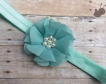 Aqua Flower Headband - Baby Headband - Aqua Baby Headband - Newborn Headband - Flower Pearl Headband - Newborn Photo Prop