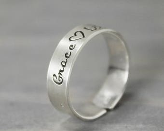 Mother Ring, Hand Stamped Jewelry,  Kids Name Ring, Gifts for Mom, Childrens Name Ring,  Personalized EJwelry, Hand Stamped