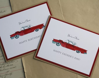 Classic Car Thunderbird Happy Father's Day or Birthday, Handmade Greeting Card, Car Lover