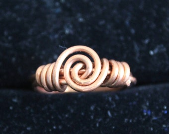 Large Swirl Copper Ring Size 5