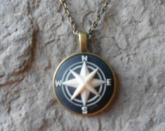 Compass Cameo Necklace - Nautical - Naval, Navy, Navigation - Bronze Setting, Bronze Chain - Christams