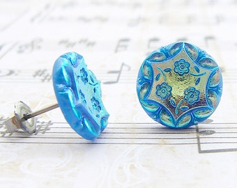 Cut Blue Daisies - vintage glass button post earrings, up-cycled jewelry
