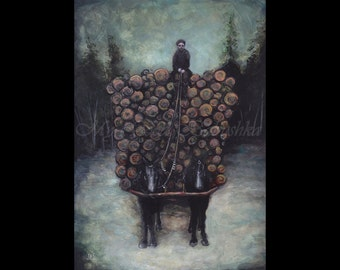 The Woodcutter's Wagon, Art Print, Winter, Forest, Trees, Horses, Black Horses, Wagon, Dark Art, Landscape, Snow, Frost, Logging, Dusk