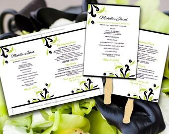 "DIY Wedding Fan Microsoft Word Template ""Florence"" Black Lime Green - Beach Ceremony Program - Outdoor Tropical Wedding Program Favor"
