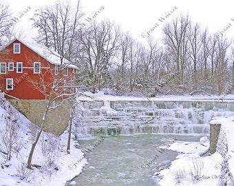 Honeoye Falls, NY River Red Mill Winter Frozen Ice Falls Waterfall Original Fine Art Photography Print