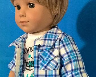 """Custom 10-11"""" Doll Wig Fits Most 18"""" Dolls """"Tousled Blonde"""" BOY Cut- Heat Safe"""