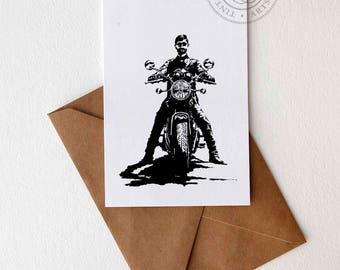 Motorcyclist Gift Motorcycle Art Motorcycle Gift Motorcycle Print Vintage Motorcycle Triumph Gift Triumph Bonneville Boyfriend Card