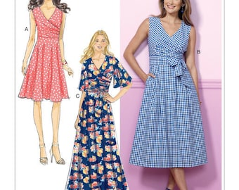 Butterick Pattern B6446 Misses' Pleated Wrap Dresses with Sash