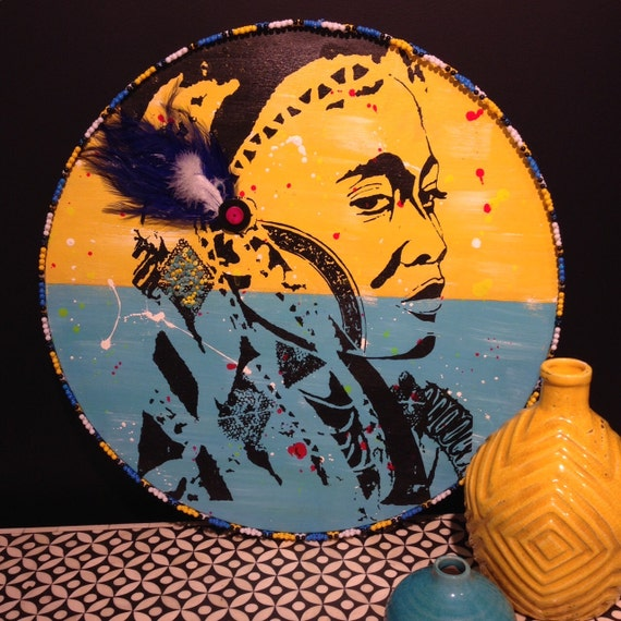 Round Wall Art Painting Timber Porthole Yellow & Turqouise  / Wakulu the warrior woman embellished with beads and feathers
