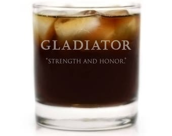 """Gladiator Movie Logo with """"Strength and Honor"""" Quote, Engraved Cocktail Glass"""