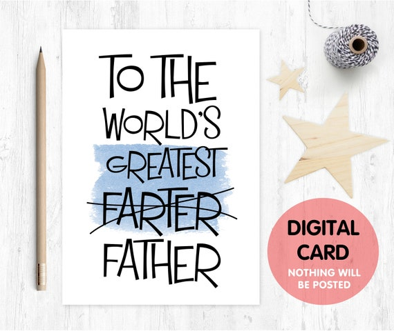 funny father's day card printable world's greatest farter fart father's day card funny dad birthday card digital download rude dad card