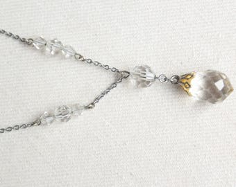 Art Deco 1930s Faceted Clear glass bead necklace ∙ Art Deco bead necklace