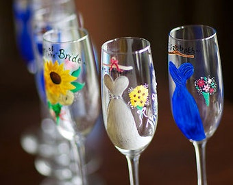 Custom Handpainted Bridal Party Champagne Flutes (bridesmaids, maid of honor, bride to be glassware)