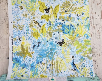 Vintage Woodland Fabric Remnant - Schumacher Screen Print, Cotton Fabric, Wildlife in The Spring, Singing Birds, Buzzing Bee, Retro Mushroom