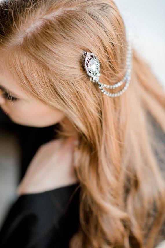 Bridal Headpiece, Head Chain, Bridal Hair Chain, Rhinestone Head Chain, Art Deco Bridal Headpiece, Flapper Hair, Gunmetal Hair JANAY